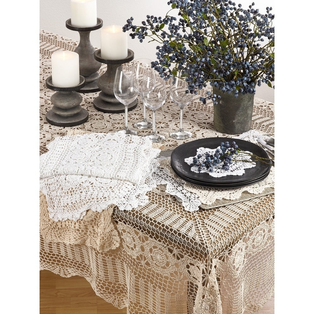 Saro Handmade Crochet Lace Table Linens (Grey Tablecloth .