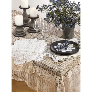 Tablecloths for less overstock handmade crochet cotton lace table linens junglespirit Image collections