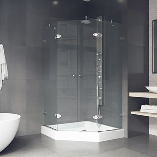 VIGO Gemini 42.125 x 42.125 Frameless Neo-Angle .375-in. Clear Glass/Brushed Nickel Hardware Shower Enclosure with Base