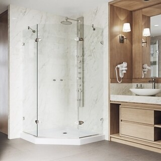 VIGO Gemini 42.125 x 42.125 Frameless Neo-Angle .375-in. Clear Glass/Brushed Nickel Hardware Shower Enclosure w/Low-Profile Base