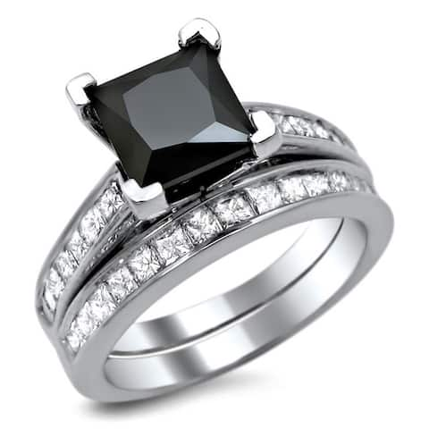 14k White Gold 2 1/2ct TDW Certified Black Diamond Engagement Ring Bridal Set