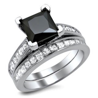 Noori 14k White Gold 2 1/2ct TDW Certified Black Diamond Engagement Ring Bridal Set