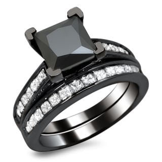 Noori 14k Black Gold 2 1/2ct TDW Princess-cut Black Diamond Engagement Ring Bridal Set