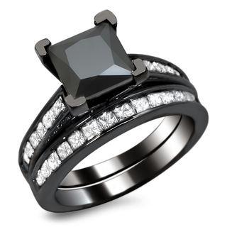 Noori 14k Black Gold 2 1/2ct TDW Certified Princess-cut Black Diamond Engagement Ring Bridal Set