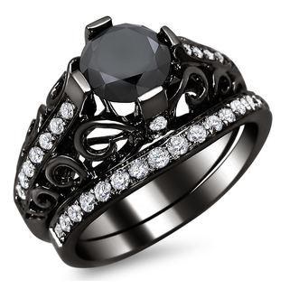 Noori 14k Black Gold 2 1/5ct TDW Certified Black Diamond Engagement Ring Bridal Set (G-H, SI1-SI2)