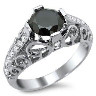Noori 14k White Gold 1 4/5ct CertifiedBlack Round Diamond Engagement Ring
