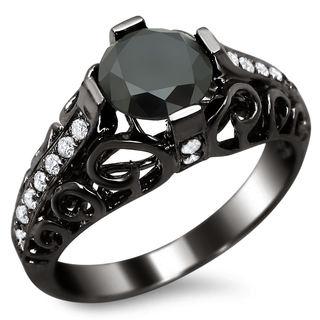 Noori 14k Black Gold 1 4/5ct TDW Certified Black/ White Round-cut Diamond Engagement Ring