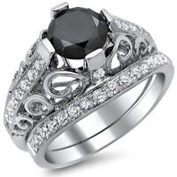 Noori 14k White Gold 2ct Certified Black Diamond Round-cut Engagement Ring Bridal Set (E-F, VS1-VS2)