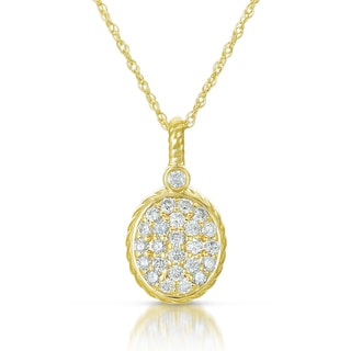 Eloquence 14k Yellow Gold 1/2ct TDW Diamond Oval Charm Pendant Necklace (H-I, I1-I2)