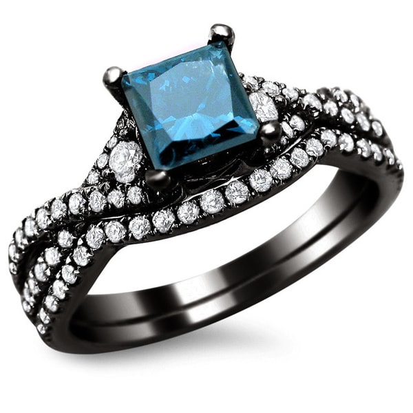 noori 18k black gold 1 12ct certified blue diamond princess cut bridal set - Blue Diamond Wedding Ring Sets
