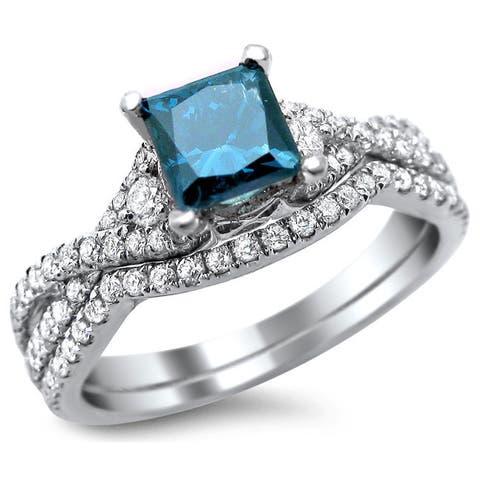 18k White Gold 1 1/2ct TDW Certified Blue/ White Princess-cut Diamond Bridal Set