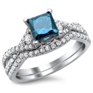 Noori 18k White Gold 1 1/2ct TDW Certified Blue/ White Princess-cut Diamond Bridal Set