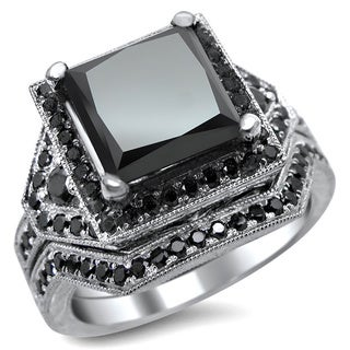 Noori 14k White Gold 4 1/4ct Certified Black Princess-cut Diamond Engagement Ring Bridal Set