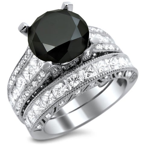 Noori 18k White Gold 5 3/4ct TDW Certified Black and White Round Diamond Bridal Set
