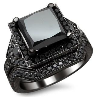 Black Gold 4 1/4ct Certified Princess Black Diamond Engagement Set (More options available)