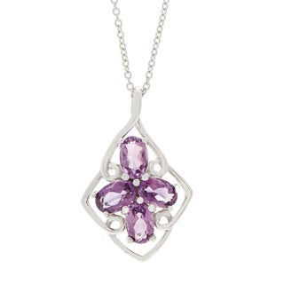Rhodium Over Sterling Silver Oval-cut Gemstone Flower Necklace (3 options available)