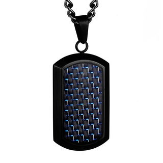 Crucible Black Plated Stainless Steel Men's Black and Blue Carbon Fiber Dog Tag Pendant