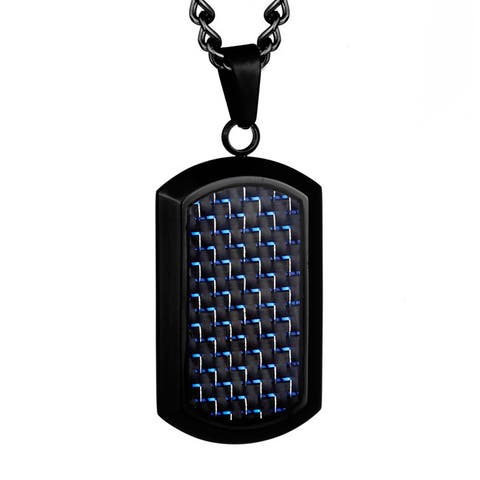 Crucible Black Plated Stainless Steel Black and Blue Carbon Fiber Dog Tag
