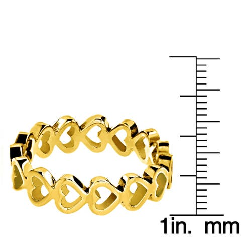 Color Plated Stainless Steel Open Heart Eternity Ring
