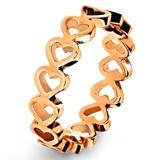 Rose or Gold Plated Stainless Steel Open Heart Eternity Ring