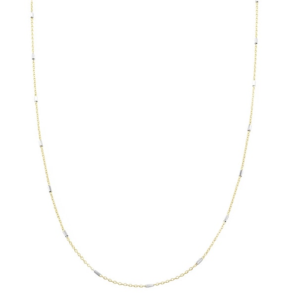 Fremada 18k Yellow and White Gold Saturn Bar Cable Chain Necklace (18 inch)