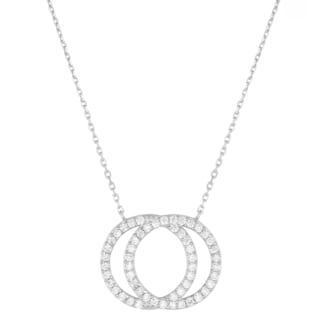 Fremada Sterling Silver Cubic Zirconia Double Circle Necklace (18 inch)