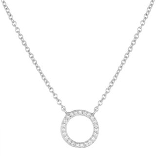 Fremada Sterling Silver Cubic Zirconia Circle Necklace (18 inch)