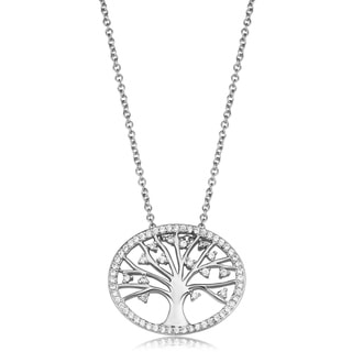 Fremada Sterling Silver Cubic Zirconia Oval Tree of Life Necklace (18 inch)