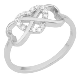 Fremada Sterling Silver Cubic Zirconia Triple Hearts Infinity Ring