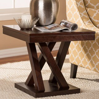 Baxton Studio Everdon Brown X Base End Table