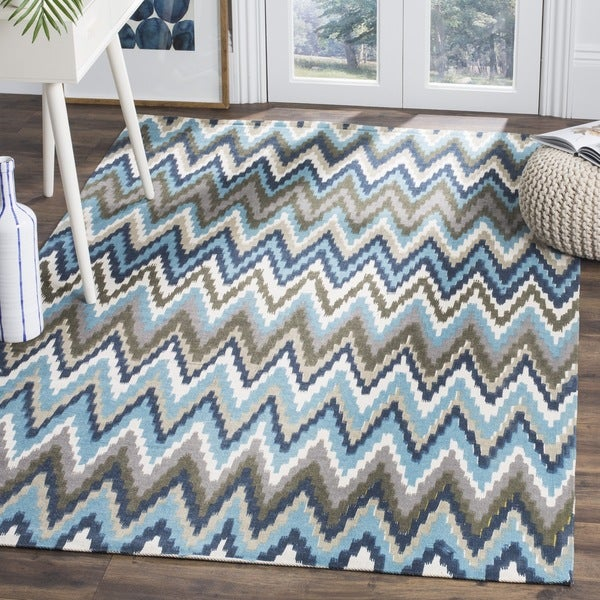 Safavieh Hand-loomed Cedar Brook Teal/ Blue Cotton Rug - 7'3 x 9'3