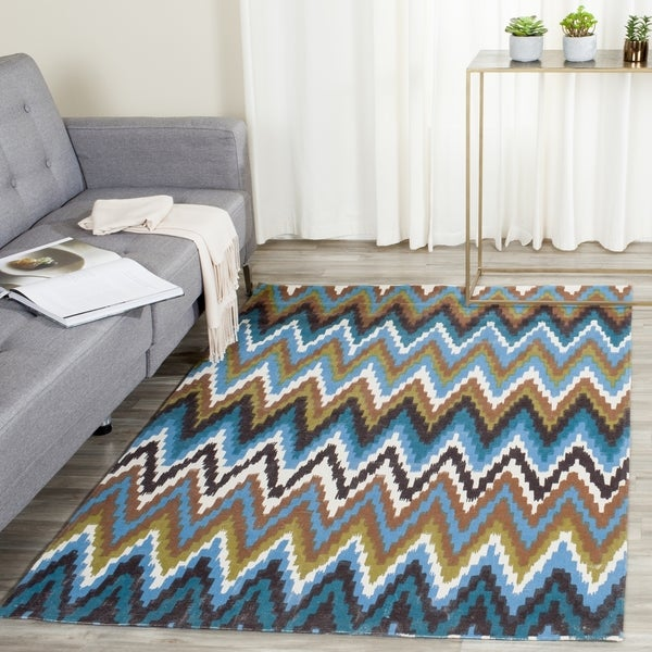 Safavieh Hand-loomed Cedar Brook Green/ Blue Cotton Rug - 7'3 x 9'3