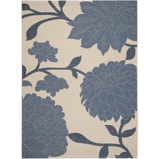 Safavieh Indoor/ Outdoor Courtyard Beige/ Blue Rug (8' x 11')