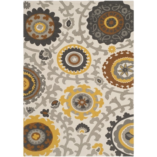 Safavieh Hand-loomed Cedar Brook Citron/ Ivory Cotton Rug - 7'3 x 9'3
