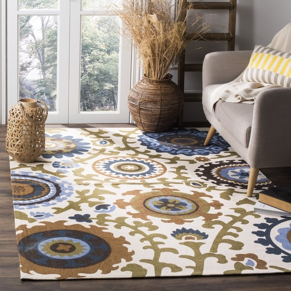 Safavieh Hand-loomed Cedar Brook Ivory/ Blue Cotton Rug - 7'3 x 9'3