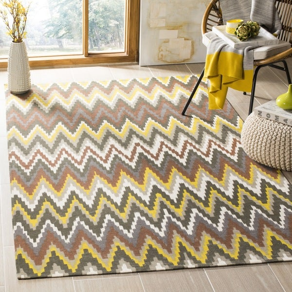 Safavieh Hand-loomed Cedar Brook Brown/ Citron Cotton Rug - 7'3 x 9'3