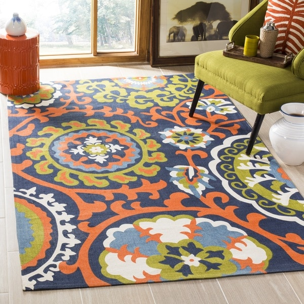 "Safavieh Hand-loomed Cedar Brook Navy Blue/ Orange Cotton Rug - 7'3"" x 9'3"""
