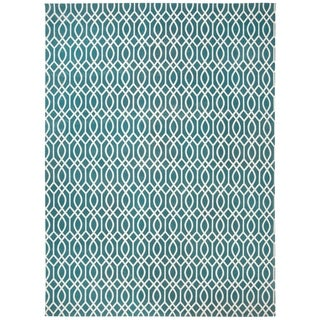 Safavieh Hand-loomed Cedar Brook Teal/ Ivory Cotton Rug (7'3 x 9'3)