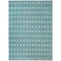 Safavieh Hand-loomed Cedar Brook Teal/ Ivory Cotton Rug - 7'3 x 9'3