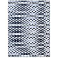 Hand-loomed Safavieh Cedar Brook Navy Blue/ Ivory Cotton Rug (7'3 x 9'3) - 7'3 x 9'3