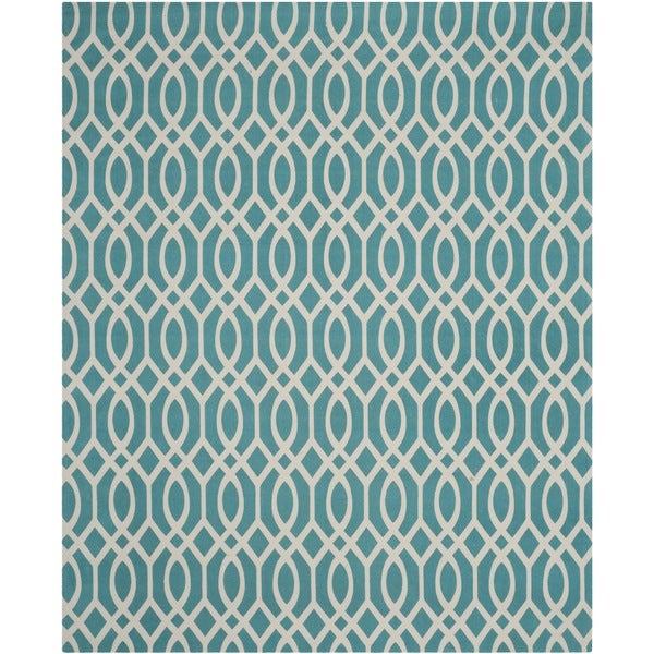 Safavieh Hand-loomed Cedar Brook Light Teal/ Ivory Cotton Rug (7'3 x 9'3)