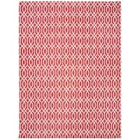 Safavieh Hand-loomed Cedar Brook Red/ Ivory Cotton Rug - 7'3 x 9'3