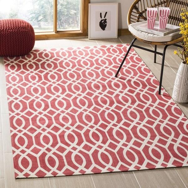 Safavieh Hand-loomed Cedar Brook Red/ Ivory Cotton Rug - 7'3 x 9'3