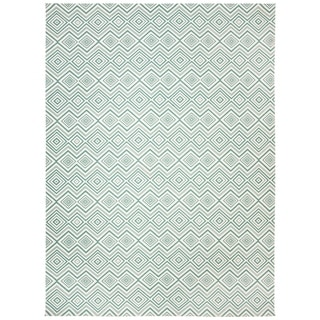 Safavieh Hand-loomed Cedar Brook Ivory/ Light Teal Cotton Rug (7'3 x 9'3)