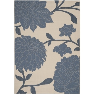 Safavieh Indoor/ Outdoor Courtyard Beige/ Blue Rug (5'3 x 7'7)