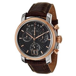 Bulova Accutron Men's 'Amerigo' Stainless Steel Brown Leather Chronograph, Retrograde Watch
