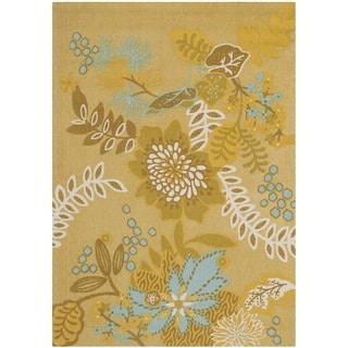 Safavieh Hand-loomed Cedar Brook Citron/ Blue Cotton Rug (4' x 6')