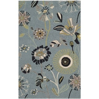 Safavieh Hand-Hooked Four Seasons Floral Blue/ Multicolored Polyester Runner (2'6 x 4') - 2'6 x 4'