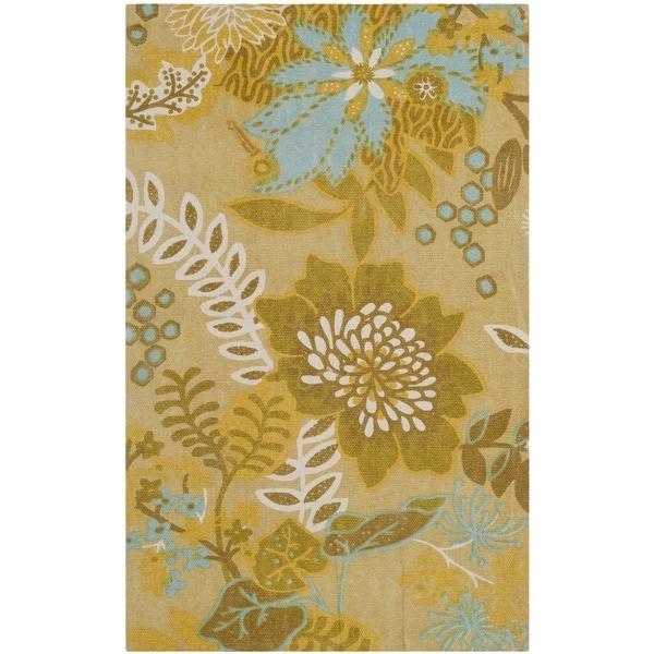Safavieh Hand-loomed Cedar Brook Citron/ Blue Cotton Rug (2'3 x 3'9) - 2'3 x 3'9