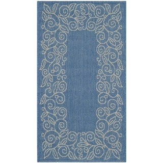 Safavieh Courtyard Scroll Border Blue/ Beige Indoor/ Outdoor Rug (2' x 3'7)